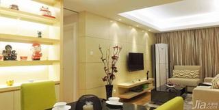 简约风格三居室70平米电视背景墙餐桌婚房平面图