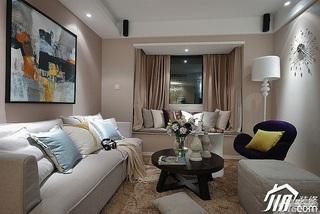 简欧风格小户型富裕型客厅飘窗沙发图片