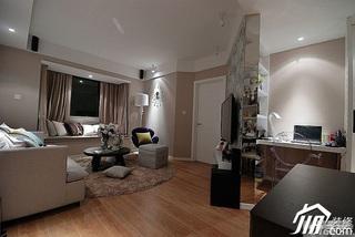 简欧风格小户型富裕型工作区客厅隔断设计图