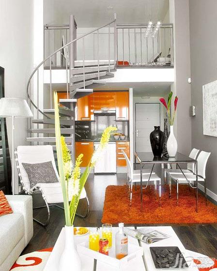 小户型时尚经济型客厅楼梯沙发效果图