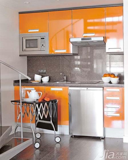 小户型实用橙色经济型厨房橱柜图片