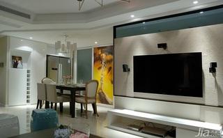 简约风格二居室130平米电视背景墙婚房家装图