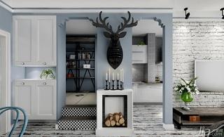 混搭风格一居室80平米客厅隔断装修图片