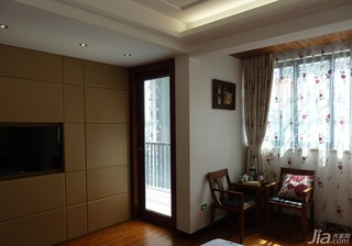 简约风格复式富裕型阳台卧室背景墙设计图