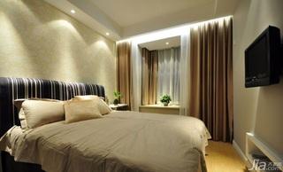 二居室10-15万90平米卧室卧室背景墙窗帘效果图