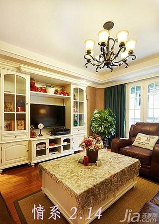 欧式风格二居室富裕型客厅电视背景墙茶几效果图
