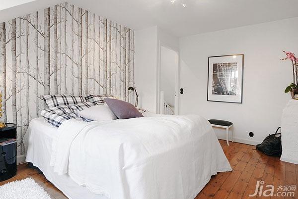 公寓另类白色经济型卧室卧室背景墙床图片