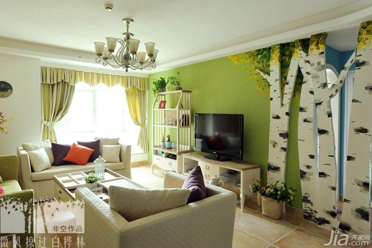 非空混搭风格三居室绿色富裕型电视背景墙窗帘效果图