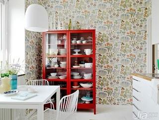 公寓小清新红色经济型厨房背景墙橱柜设计图纸