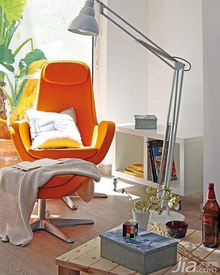 简约风格小户型小清新橙色客厅沙发图片