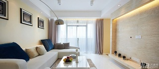 简约风格二居室90平米电视背景墙沙发婚房平面图