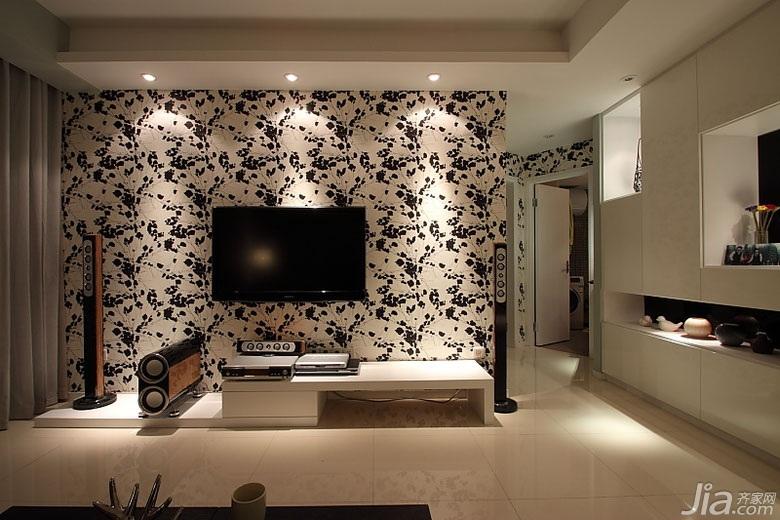 简约风格公寓80平米电视背景墙婚房设计图