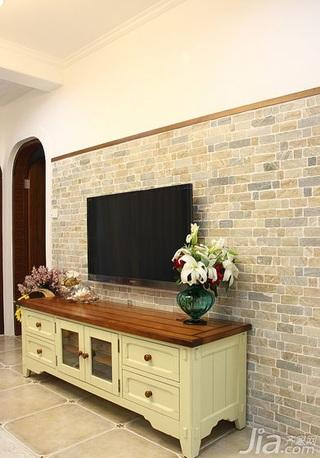 地中海风格二居室90平米电视背景墙婚房家装图片