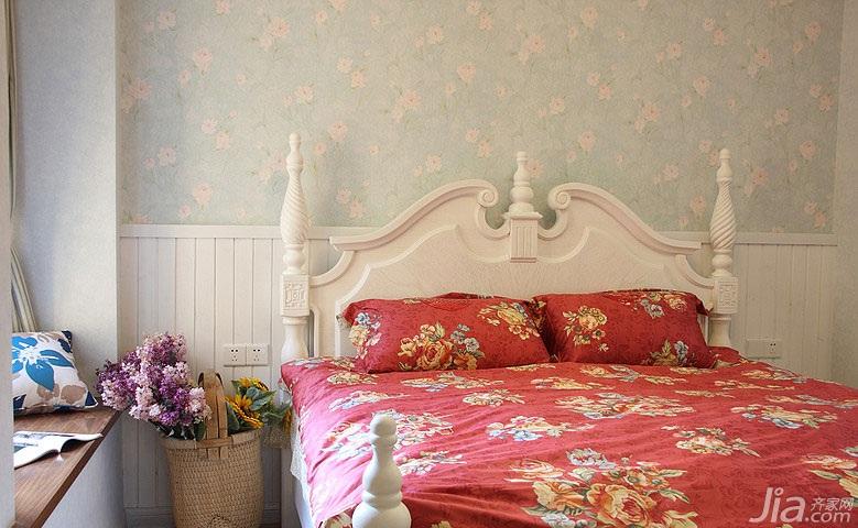 地中海风格二居室90平米卧室卧室背景墙床婚房家装图片