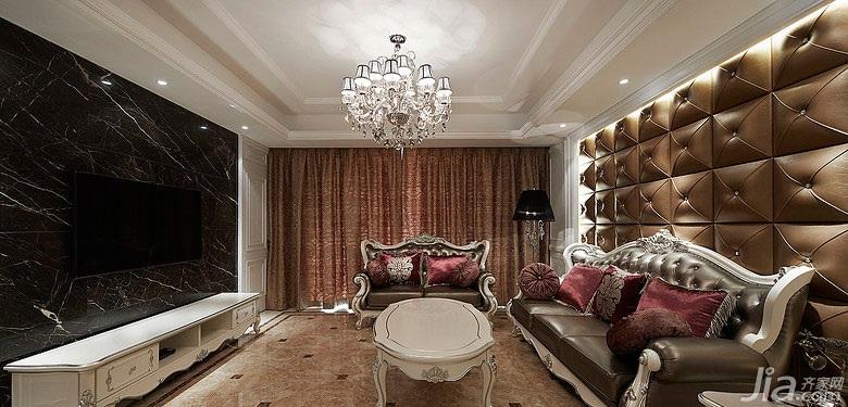 欧式风格三居室富裕型电视背景墙窗帘图片