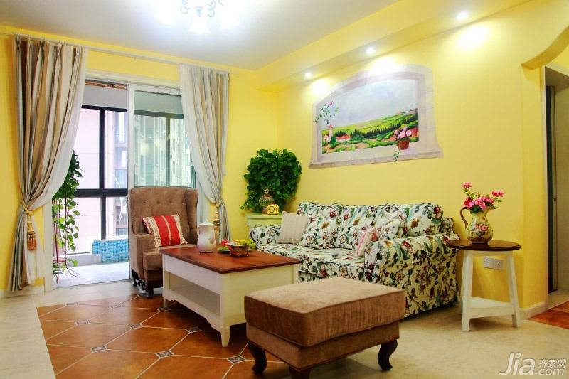 田园风格二居室温馨黄色经济型客厅沙发图片