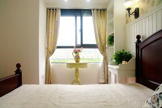 田园风格二居室浪漫经济型卧室飘窗窗帘效果图