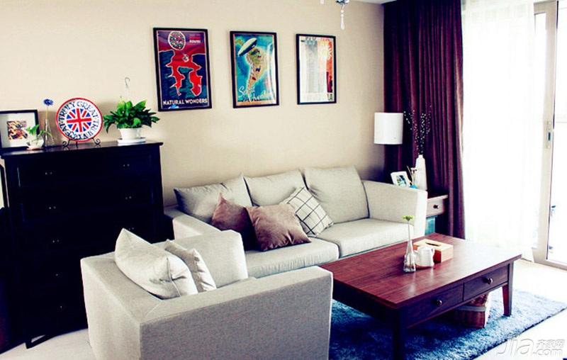 混搭风格二居室简洁经济型客厅沙发效果图