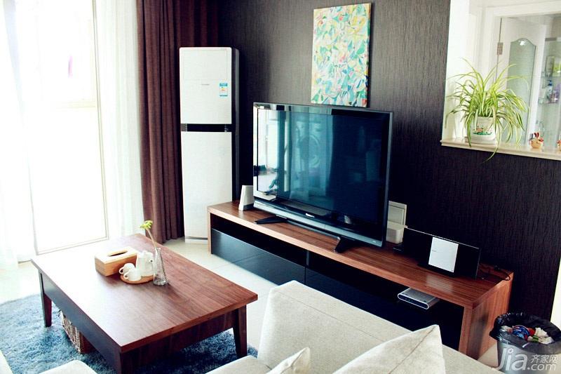 混搭风格二居室经济型客厅电视背景墙沙发效果图