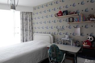 简约风格三居室可爱儿童房卧室背景墙儿童床图片