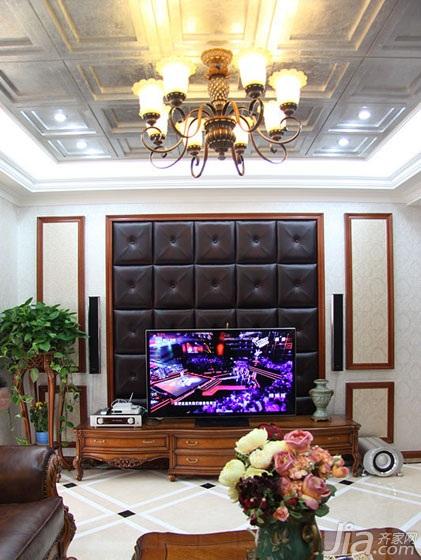 欧式风格四房140平米以上电视背景墙灯具图片