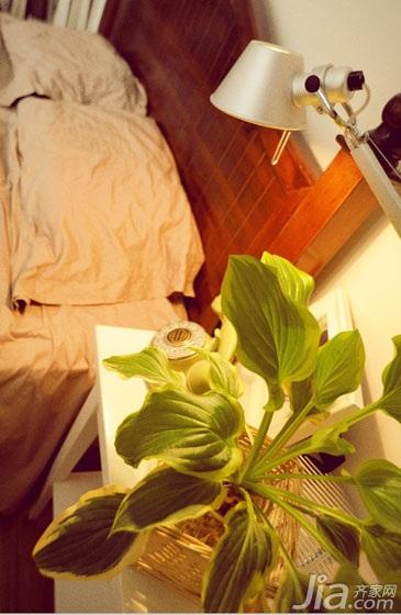 日式风格三居室小清新绿色5-10万卧室床效果图
