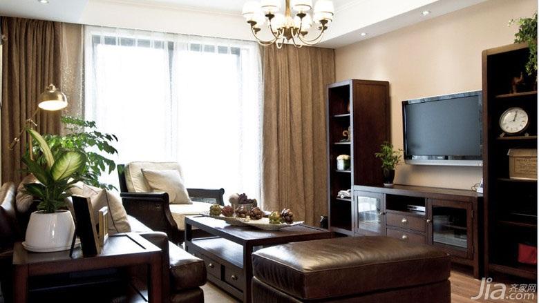 美式乡村风格三居室120平米电视背景墙窗帘图片