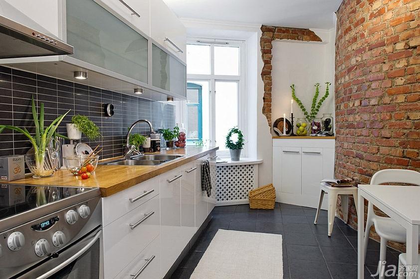 北欧风格公寓厨房餐厅背景墙橱柜图片