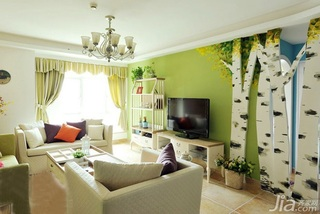 地中海风格三居室120平米电视背景墙设计