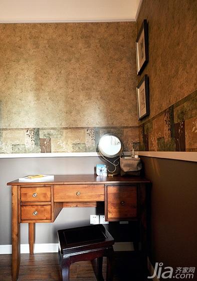 美式风格公寓古典120平米卧室卧室背景墙梳妆台图片