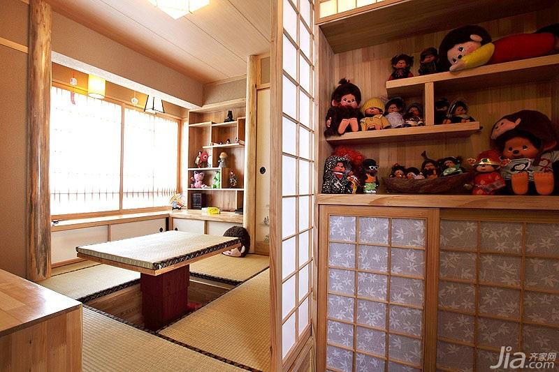 混搭风格二居室温馨暖色调90平米榻榻米订做