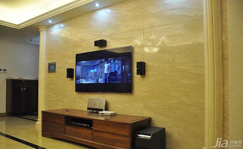 欧式风格三居室富裕型电视背景墙电视柜图片