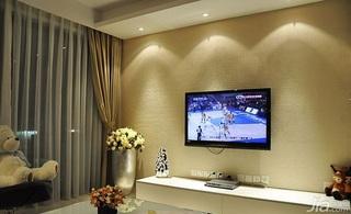 简约风格二居室富裕型电视背景墙窗帘效果图