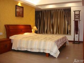 中式风格四房舒适140平米以上卧室卧室背景墙窗帘效果图