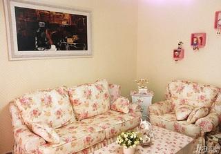 田园风格一居室60平米沙发背景墙沙发效果图