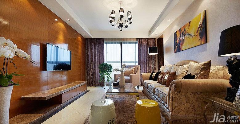 二居室20万以上90平米电视背景墙窗帘效果图