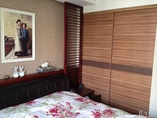 中式风格二居室100平米卧室卧室背景墙衣柜设计图纸