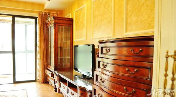 欧式风格三居室富裕型电视背景墙电视柜效果图