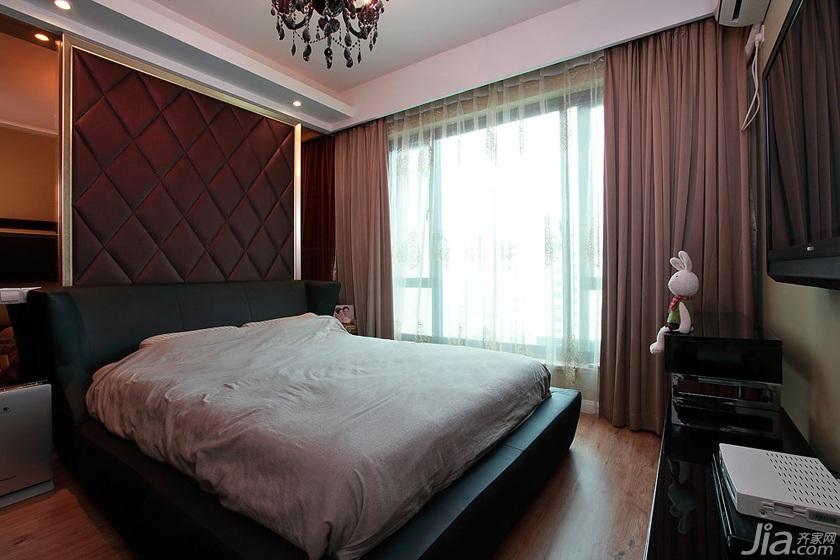 简约风格二居室浪漫100平米卧室卧室背景墙床图片