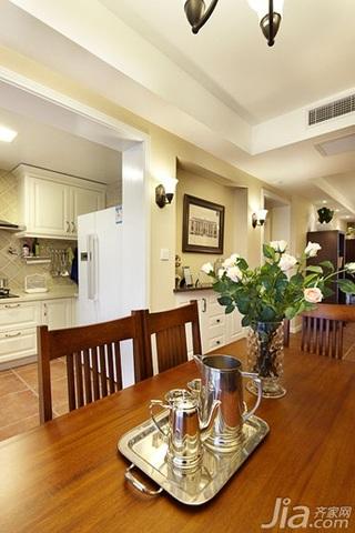 美式风格三居室白色富裕型厨房餐桌效果图
