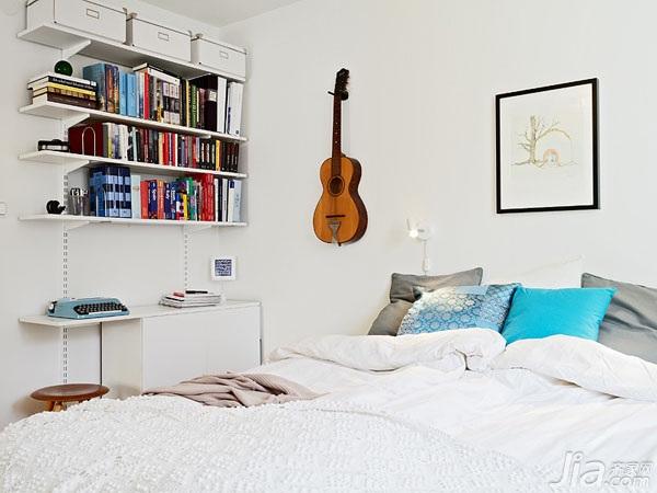 北欧风格小户型实用白色60平米卧室床图片
