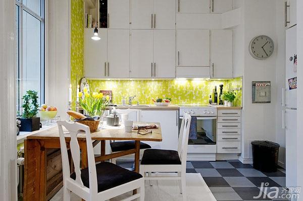 北欧风格小户型小清新白色50平米厨房背景墙餐桌效果图