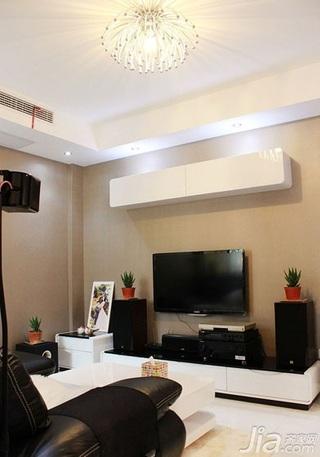简约风格二居室80平米电视背景墙电视柜效果图