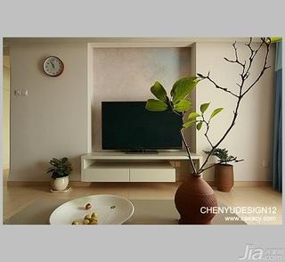 陈禹简约风格三居室富裕型电视背景墙电视柜图片