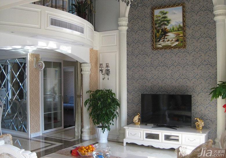 欧式风格复式140平米以上客厅背景墙装修图片