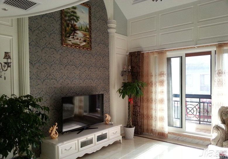 欧式风格复式140平米以上阳台电视背景墙设计