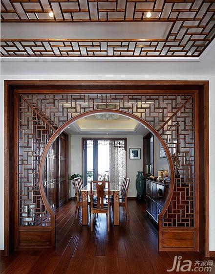 中式风格三居室豪华型餐厅隔断装修效果图
