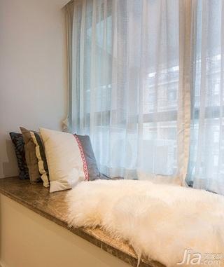 宜家风格二居室80平米飘窗窗帘效果图