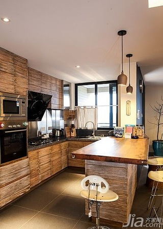 混搭风格四房140平米以上厨房吧台设计图