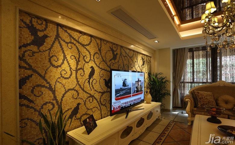 欧式风格别墅140平米以上电视背景墙电视柜效果图